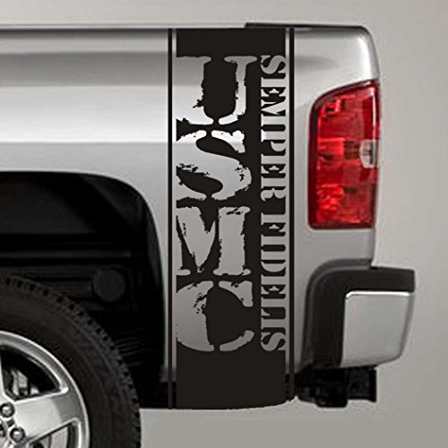 Bed Stripe Decals - Jeepazoid - Truck Bed Stripe Decal - USMC Semper Fi Distressed Universal Fit - Matte Black Sticker - (Pair - Left and Right)