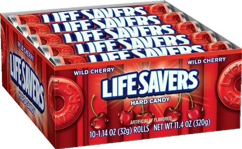 LifeSavers Wild Cherry Hard Candy, 1.14-Ounce Rolls (Pack of 60) (Cherry Lifesavers)