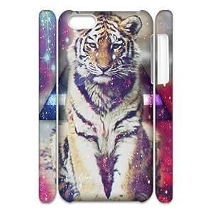 DIY Hard Plastic Case Cover for Iphone 5C 3D Phone Case - Triangle Tiger Space HX-MI-007324