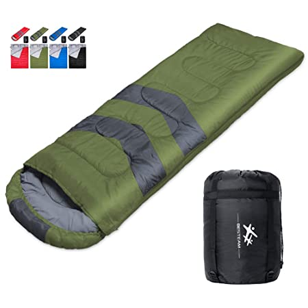 BESTEAM Camping Sleeping Bag, 3 Season Warm Cool Weather, Waterproof, Lightweight, Great Adults Kids, Family Camping, Backpacking, Traveling, Hiking, Outdoor Activities Green
