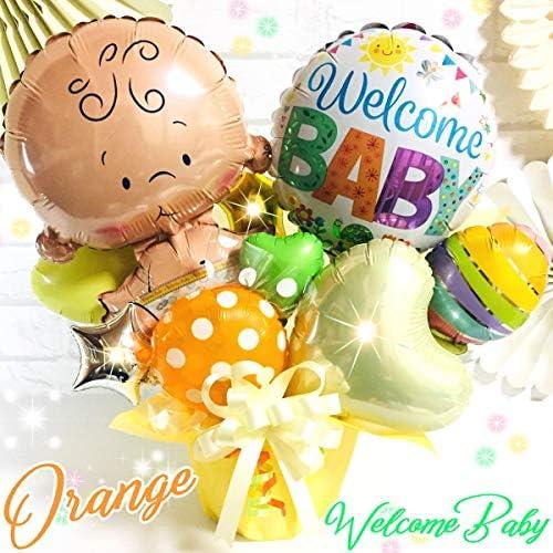 オレンジ 女の子/男の子【ご出産御祝い】★ベイビーバルーン☆お手軽サイズ バルーンギフト