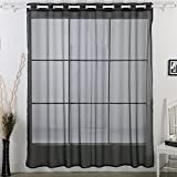 Deconovo Fashionable Light Wide Width Grommet Sheer Voile Curtain for Living Room, 100W x 84 L Inch, Black Review