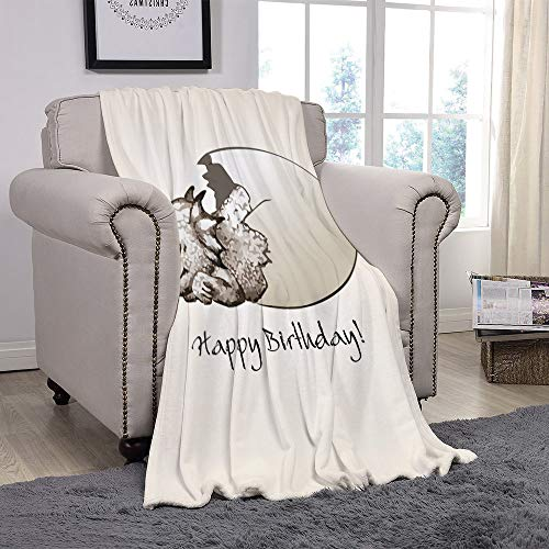 YOLIYANA Light Weight Fleece Throw Blanket/Dinosaur,Happy Birthday Theme Cute Newborn Dinosaur Sleeping Cracked Egg Fantasy Fun,Eggshell Tan/for Couch Bed Sofa for Adults Teen Girls Boys