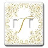 3dRose Uta Naumann Personal Monogram Initials - Letter T Personal Luxury Vintage Glitter Monogram-Personalized Initial - Light Switch Covers - double toggle switch (lsp_275319_2)