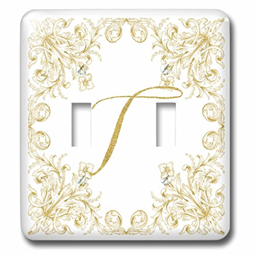 3dRose Uta Naumann Personal Monogram Initials - Letter T Personal Luxury Vintage Glitter Monogram-Personalized Initial - Light Switch Covers - double toggle switch (lsp_275319_2) by 3dRose (Image #1)