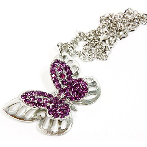 Red Hound Auto Silver Bling Butterfly Mirror Car Charm Hanger Ornament Purple Rhinestones with Chain