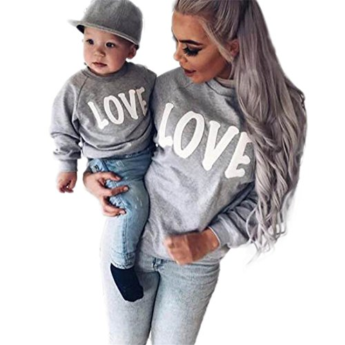 HANYI Family Clothes Outfits, Mommy & Baby Kids Full Long Sleeve Letter Loose Blouse Tops Sweater shirt Jersey Top (L, Mom (Gingham Bras)