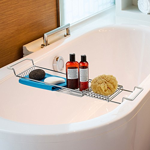 Home Intuition Over the Tub Expandable Shower and Bathtub Tray Caddy ...