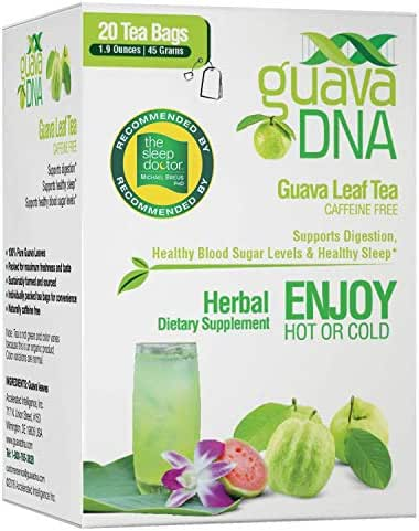 GuavaDNA Guava Leaf Tea 20 Individually Wrapped Teabags | 100% Pure Guava Leaves, Nothing Else Added. | Great For Digestion, Anti-Diarrhea Support | Sleep Support Teas (20 Teabags)
