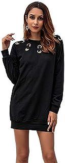 CYL Moda Primaverile E Autunnale Abbigliamento da Donna Morbido Confortevole Traspirante Sezione Media E Lunga Maniche Larghe Abito in Tinta Unita Gonna A Scalino Nera