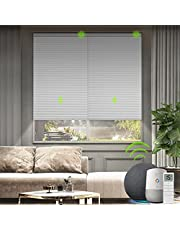 """Yoolax Motorized Cellular Shade Compatible with Alexa, Custom Blackout Smart Blinds Honeycomb Shade Cordless Single Cell Electric Window Blinds(100% Blackout White,47-51"""" W x 85-94"""" H)"""