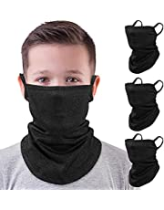 MoKo Kids Neck Gaiter Face Mask, 3 Pack Scarf Bandana Mask with Ear Loops Dust Wind Proof Outdoors Balaclava for Girls Boys