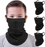 MoKo Kids Neck Gaiter Face Mask, 3 Pack Scarf Bandana Mask with Ear Loops Dust Wind Proof Outdoors Balaclava f