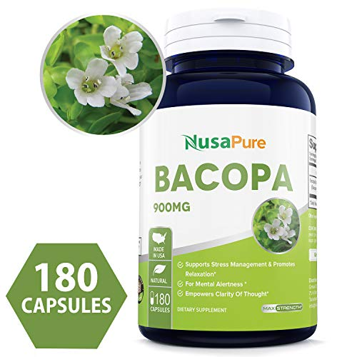 Best Bacopa Leaf Extract 900mg 180 Capsules (Non-GMO & Gluten Free) Brain Supplement, Nootropic & Brain Booster for Enhanced Mental Focus + Memory + Clarity - 100% Money Back Guarantee!
