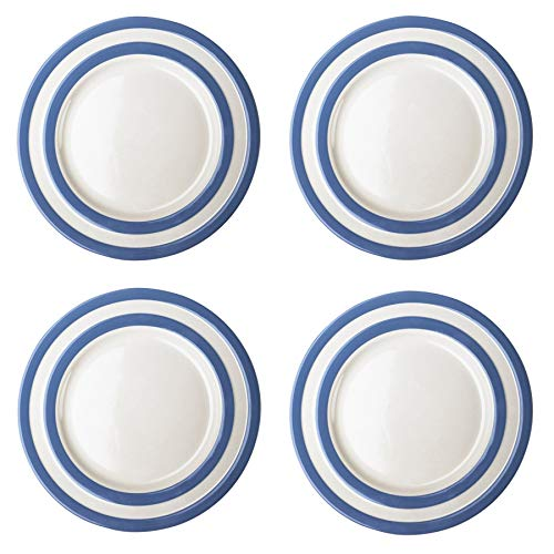 (Cornishware Blue and White Stripe Set of 4 Main Dinner Charger Lunch Plates 11