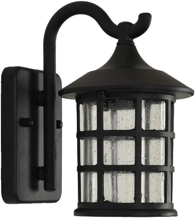 VanMe Antigua Herrería Rústica Lámpara De Pared Exterior Impermeable Lámpara De Pared De Luz Vintage Candelabro De Pared Pasillo,Negro