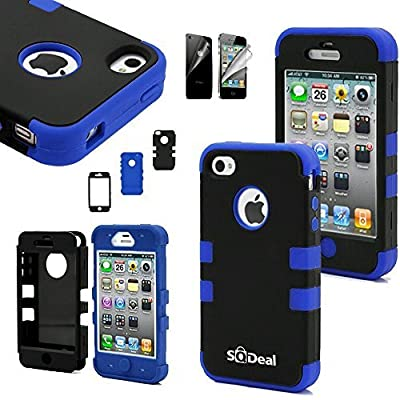 iphone 4s case, SQdeal® 3in1 Rubber + Plastic High Impact Hybrid Hard Case Protective Cover for iphone 4 4s, with Front/Back Screen Protector from SQdeal