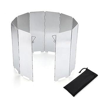 GS portátil 10 placas plegable al aire libre estufa de Camping quemador de gas aleación de aluminio viento pantallas parabrisas: Amazon.es: Deportes y aire ...