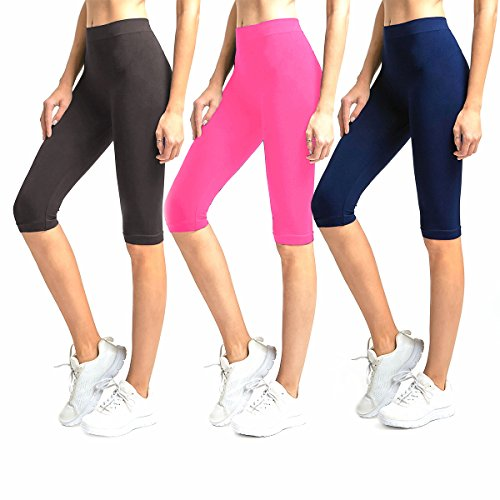 Glass House Apparel Solid Knee Length Short Spandex Yoga Leggings 3 Pack, Charcoal Neon Pink Navy