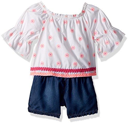 (Limited Too Girls' Toddler Fashion Top and Short Set, poplin Puff Self Ruffle Hem Multi Print, 4T)