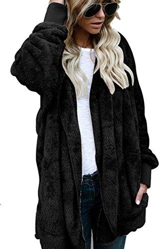 Con Fuzzy Capucha Abierto Cardigans Frente Black Elegante La Abrigos Chaquetas Invierno Mujer Costes AqIp4p