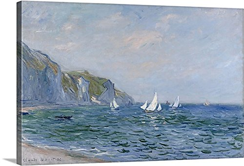 Claude Monet Premium Thick-Wrap Canvas Wall Art Print entitled Cliffs and Sailboats at Pourville 48''x32'' by Canvas on Demand