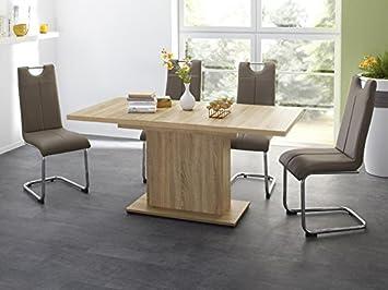 73c92726776831 Essgruppe Tischgruppe Esstisch Patrick ausziehbar Eiche sägerau + 4x  Freischwinger Lacy cappuccino