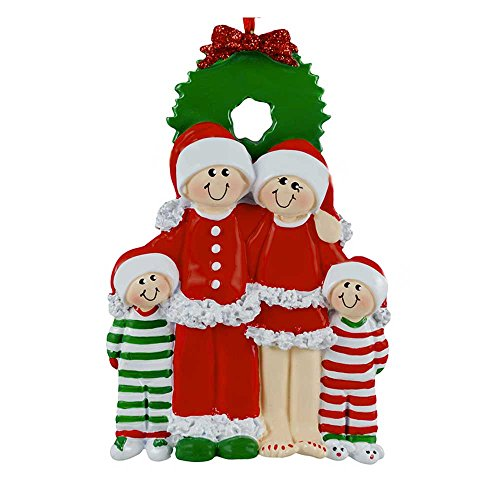 (Personalized Christmas Eve Family of 4 Ornament for Tree 2018 - Cuties in Red Santa PJs in Green Pajamas with Wreath - Kids Holiday Activity Cozy Hat Tradition - Free Customization by Elves (Four))