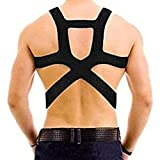 uxcell® Black Adjustable Back Posture Support Brace Shoulder Corrector Band Belt for Men