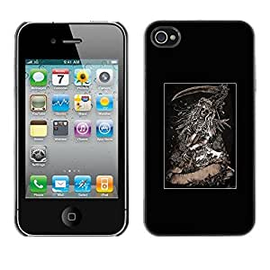 Colorful Printed Hard Protective Back Case Cover Shell Skin for Apple iPhone 4 / iPhone 4S / 4S ( Grim Reaper Poster Metal Death Skull )