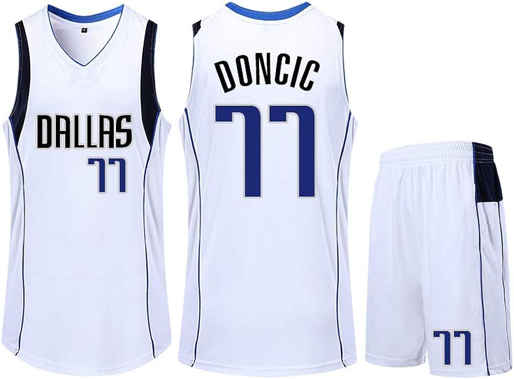ZGJY Shorts in Jersey Dallas Mavericks Luka Doncic # 77 Set Classico Senza Maniche Basket per Uomo e t-Shirt da Basket Unisex con Lettere Cucite