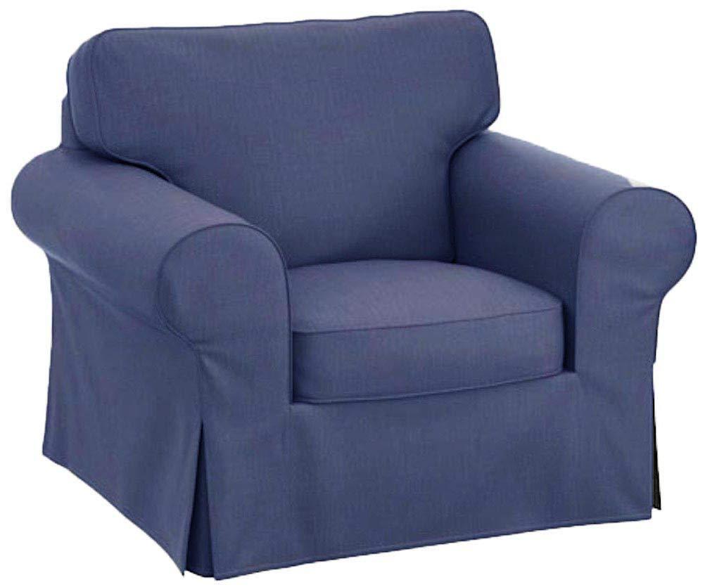 椅子カバーはソファースリップカバー交換用です。 Pottery Barn PB ベーシックチェアまたはアームチェアに適合 ブルー  ブルー B07NP2ZNSD