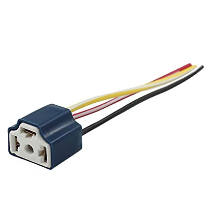 2pcs car h4 headlight ceramic bulb holder auto halogen bulb socket lamp  holders h4 connector plug extension wire: amazon co uk: diy & tools
