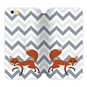 Adorable Cleverness Small Fox Walking Leisurely Blue White Purple Chevron Iphone 6 Plus 5.5 Case Cover Shell (Laser Technology)