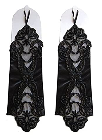 Tai523 Satin Fingerless Gauntlet Style Beaded Gloves (Black) - Length Beaded Satin