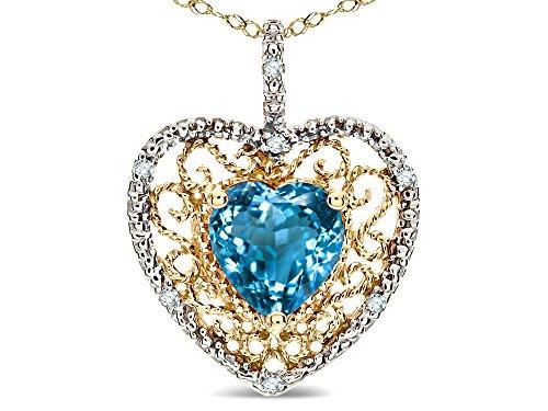 Star K Heart Shape 8mm Genuine Blue Topaz filigree Heart Pendant Necklace 14k Yellow - Topaz Pendant Filigree Blue