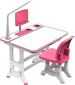 Peacur Kids Desk and Chair Set, Height Adjustable Children Study Desk with Tilt Desktop & LED Light & Bookstand and Storage Drawer for Boys Girls (Pink)