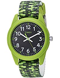 Boys TW7C11900 Time Machines Analog Resin Green/Black Sport Elastic Fabric Strap Watch