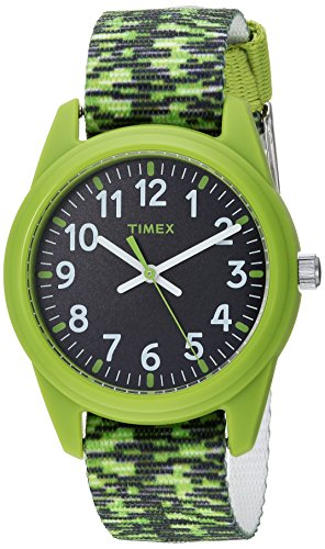 Timex Boys TW7C11900 Time Machines Green/Black Sport Elastic Fabric Strap Watch