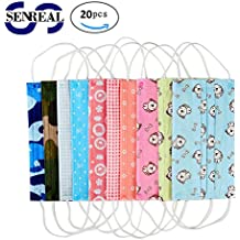 SENREAL Surgical Masks 20pcs Cute Print Flu Masks Medical Dental Salon 3 Layers Ear Loop Non Woven Face Mask with Designs