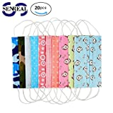 SENREAL Surgical Masks 20pcs Cute Print Flu Masks Medical Dental Salon 3 Layers Ear Loop Non Woven Face Mask with Designs