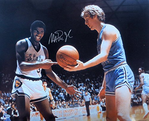 Magic Johnson Signed Autographed 16X20 Photo Larry Bird College Face-Off Beckett