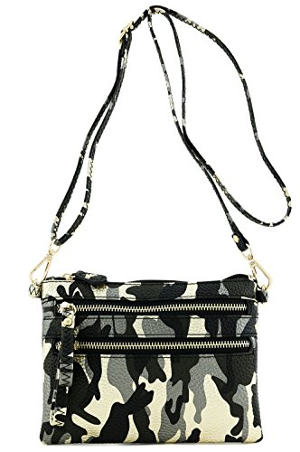 Multi Zipper Pocket Small Wristlet Camouflage Crossbody Bag (Metallic Black/Gold - Strap With Satchel Small