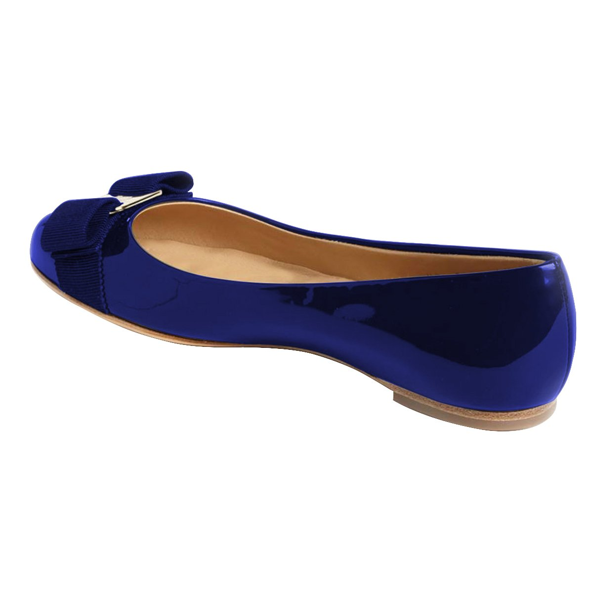 FSJ Women Cute Bowknot Round Toe Ballet Flats Slip On Casual Office Comfy Pumps Shoes Size 4-15 US B077P37118 9.5 B(M) US|Blue
