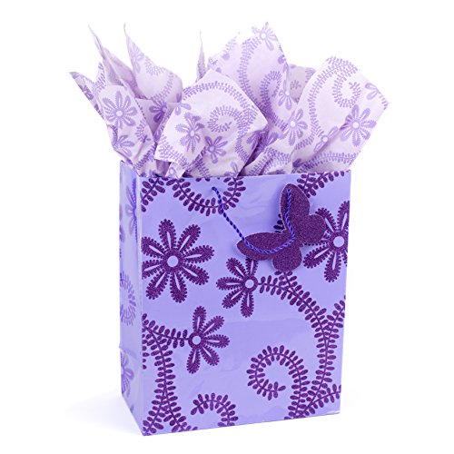 Hallmark Large Gift Bag with Tissue Paper for Birthdays, Baby Showers, Weddings and More (Lavender, Flowers)