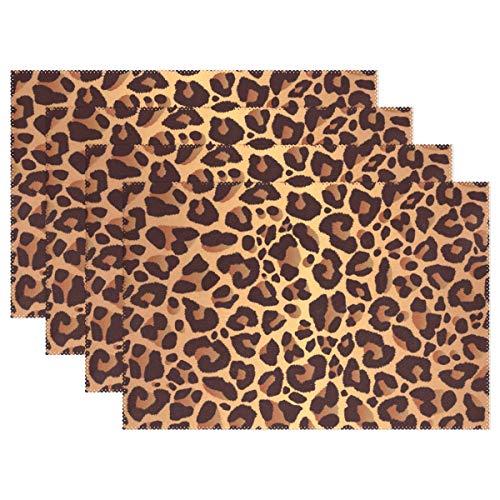 - JOKERR Place Mats, Animal Leopard Print Placemats Table Mats Non Slip Washable Heat Resistant for Kitchen