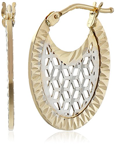 14k Gold Italian Two-Tone Filigree Oval Hoop Earrings