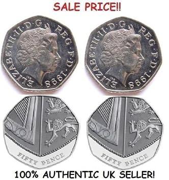 Ein Paar Echt Zweiseitig 50 Pence Münze 1 Zwei Unter Der Leitung Und