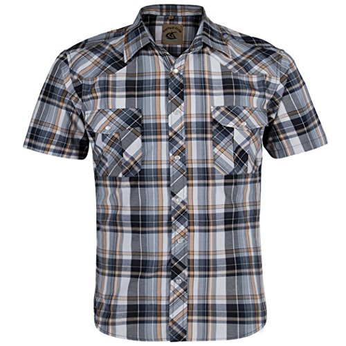 (Coevals Club Men's Snap Button Down Relaxed Fit Plaid Short Sleeve Work Casual Shirt Yellow,Grey 2)