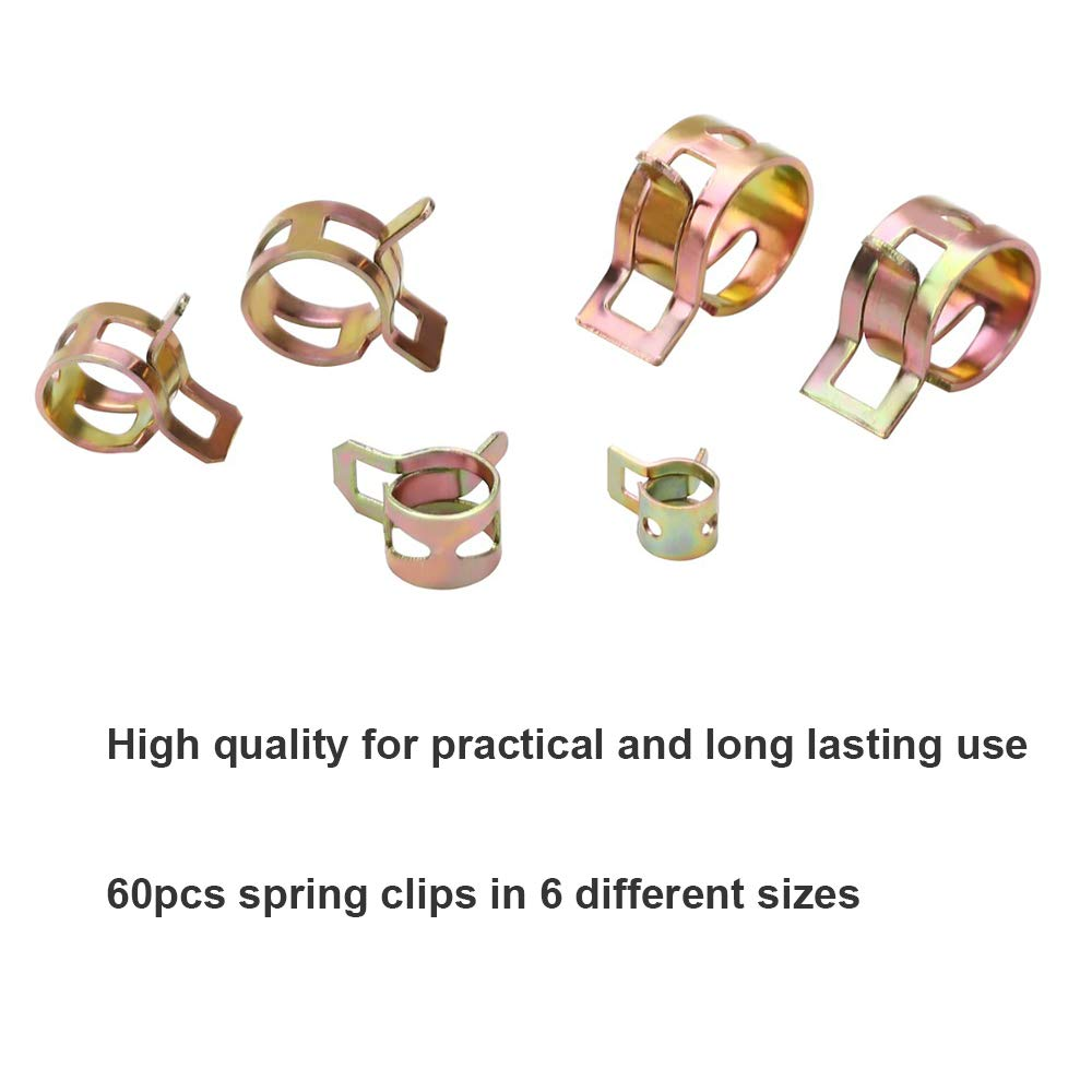 7mm 10mm 11mm 14mm 16mm 17mm VEGET 60 pcs Spring Band Type Clamp Action Fuel Silicone Vacuum Hose Pipe Tube Clamp Steel Wire Tube Low Pressure Air Clip Clamp Fasteners Assortment Kit
